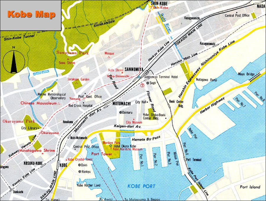 Map of Kobe Japan HAPPINESS is JAPAN